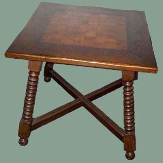 VINTAGE INLAID SPANISH OAK CHESS TABLE