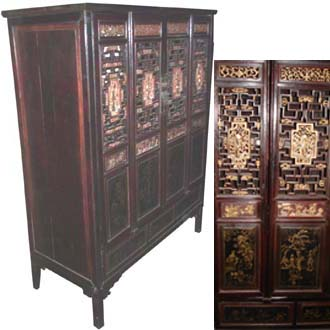 ANTIQUE HAND-CARVED CABINET WITH REAL GOLD LEAF
