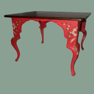 VINTAGE HANDPAINTED RED LOUIS XV BRUNCH TABLE