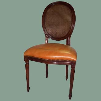 VINTAGE HAND-CARVED AFRICAN MAHOGANY LOUIS XVI SIDE CHAIR WITH