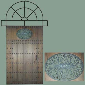 ANTIQUE 17TH CENTURY PORCH DOOR WITH IRON ARCH TOP & CENTER DOOR