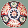 ANTIQUE NAVY & RED IMARI DISH